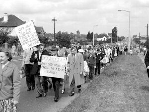 Villagers of Swanley Kent demonstrate in favour of a zebra crossing and by pass July 1960