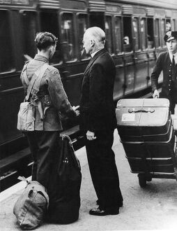 World War II - The Vicar of Sidcup says goodbye to his son, a volunteer in the Artists