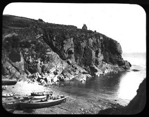 Boats on the the beach at Cadgwith, Cornwall. Late 19th century
