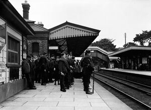 Camborne Railway Station, Camborne, Cornwall. Early 1900s, possibly World War I