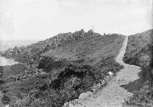 The cliffs and path Coverack, Cornwall. Early 1900s