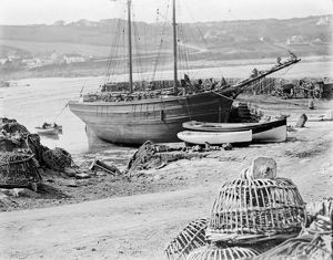 Coverack harbour, Coverack, Cornwall. Late 1800s
