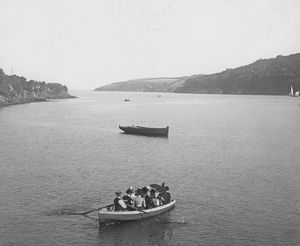 Ferryboat near the Helford Passage, Cornwall. Early 1900s