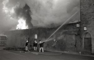 Fire at Great Western Commercial Village, Lostwithiel, Cornwall. February 1987