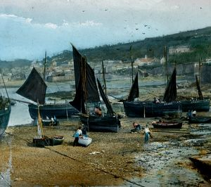 Fishing boats in Newlyn Harbour, Newlyn, Cornwall. Early 1900s