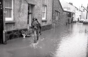 Flooding, North Street, Lostwithiel, Cornwall. October 1983