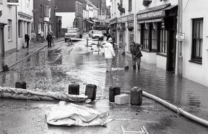 Flooding, Queen Street, Lostwithiel, Cornwall. November 1986