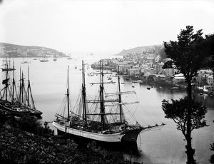 Fowey harbour, with masted ships, Cornwall. 1904