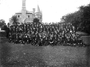 Group of sailors and staff at Trefusis, Mylor, Cornwall. 30th June 1916