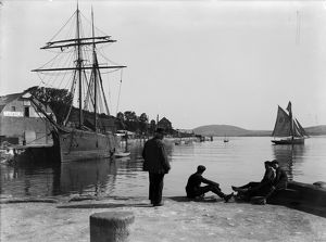 Harbour scene with the 'Guiding Star', Padstow. Cornwall. June 1906. Photographer J