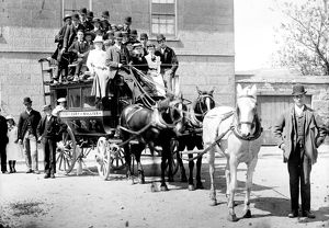 Horse bus, Coinage Street, Helston. Cornwall. Around 1900