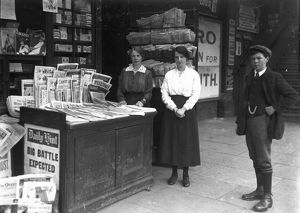 Newsagent stand at Truro Railway Station, Cornwall. 1915