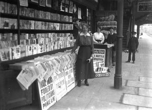 Newsagent stand at Truro Railway Station, Cornwall, 1915