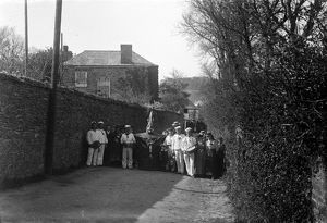 Obby 'oss, Fentonluna Lane, Padstow, Cornwall. 1900s