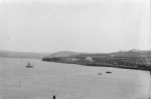 Padstow Railway Station from across the estuary. Before 1907