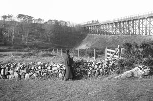 Passenger train crossing Penponds Viaduct, Cornwall. Before 1899
