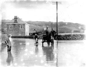 Perranporth during a flood, Cornwall