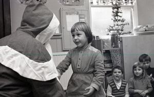 Playgroup Christmas party, Lostwithiel, Cornwall. December 1979