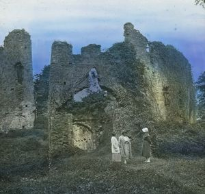 Restormel Castle ruins, Cornwall. Around 1925