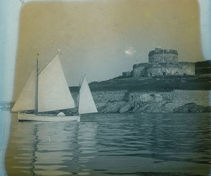 St Mawes Castle, Cornwall, from the estuary with a yacht