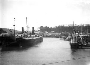 Steamers moored off clay jetties, Fowey harbour, Cornwall.