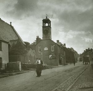 Town Clock and Major Gill's car, Grampound, Cornwall. Around 1925