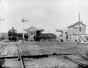 View of Gwinear Road station looking west, possibly at the opening of the Helston