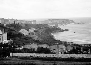 View of St Ives with the railway station in foreground. Around 1880