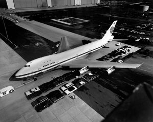 vintage archive/aerial view boeing 747 called jumbo jet painted