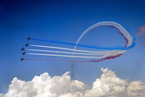 Britain's Red Arrows airplane display team performs during the second week-end