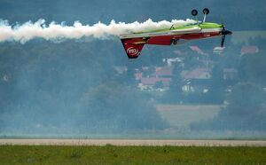 Legendary acrobatic pilot Zoltan Veres of Hungary on his MXS aircraft demonstrates