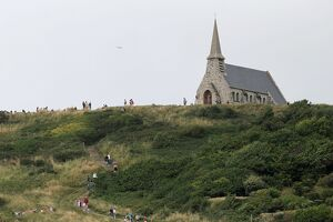 The Notre-Dame-de-la-Garde chapel, perched on the cliffs of Etretat, is pictured