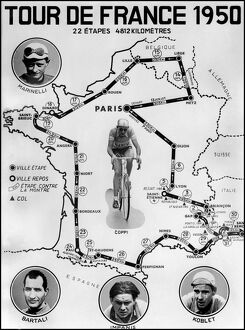 Official map of the stage of the Tour de France Cycliste 1950