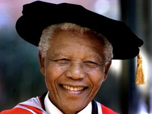Former South African president and Nobel Peace Prize laureate Nelson Mandela wears