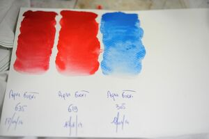 A view of oil paint color tests in a workshop at the Raphael-Isabey-Sennelier factory