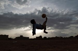 YEMENI BOY AIR FOOTBALL KICK