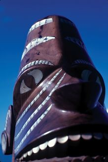 Carved wooden head. Solomon Islands, 1979.