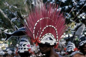 Close up of a male performer wearing an elaborate red headdress.