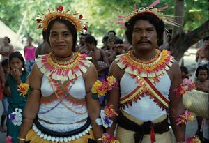 Man and woman in traditional dress. Solomon Islands, 1979.