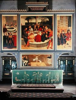artists/lucas cranach/altar triptych depicting left panel philipp