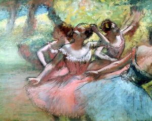 Four ballerinas on the stage (pastel)