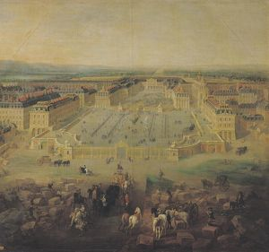 The Chateau de Versailles and the Place d'Armes, 1722 (oil on canvas)