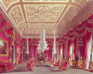The Crimson Drawing Room, Carlton House from Pyne's 'Royal Residences', 1818