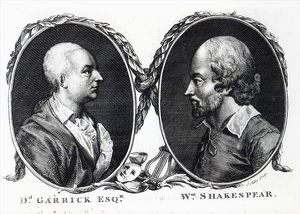 David Garrick and Shakespeare, engraved by J. Miller (engraving)