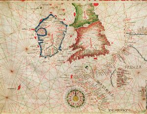 The French Coast, England, Scotland and Ireland, from a nautical atlas, 1520 (ink on vellum)