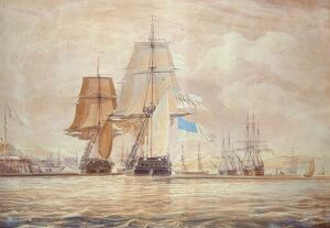 HMS 'Shannon' leading the 'Chesapeake' into Halifax Harbour, 1813 (w/c)