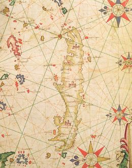 The Island of Crete, from a nautical atlas, 1651 (ink on vellum) (detail from 330925)