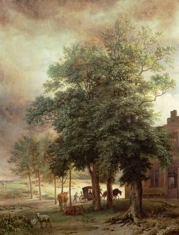 Landscape with carriage or House beyond the trees