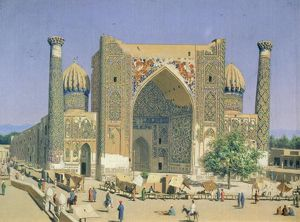 Medrasah Shir-Dhor at Registan place in Samarkand, 1869-70 (oil on canvas)