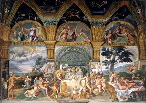 artists/giulio and workshop romano/noble banquet celebrating marriage cupid psyche